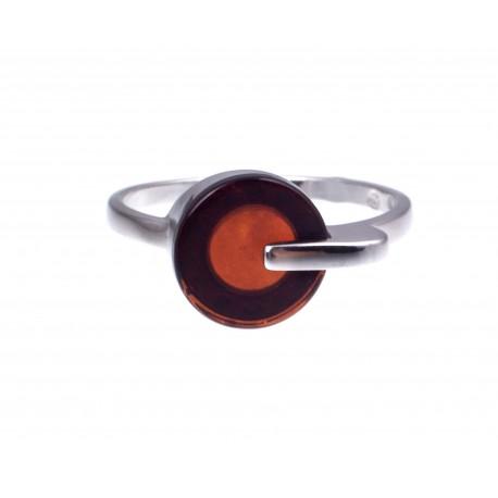 """Sidabrinis žiedas su vyšniniu gintaru """"Burgundija"""""""