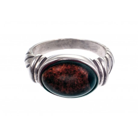 """Sidabrinis žiedas su gintaru """"Lėja"""""""