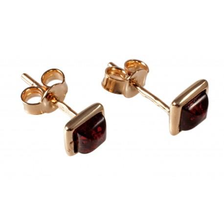 Auksiniai auskarai su konjakiniu gintaru