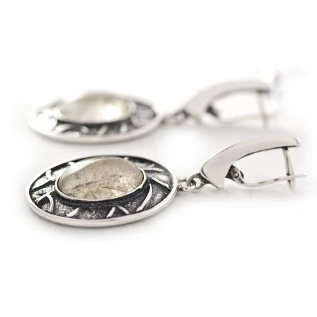 Vienetiniai sidabriniai auskarai su dūminiu kvarcu