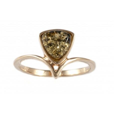 Auksinis žiedas su žaliu gintaru