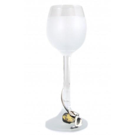 Stiklinės taurelės su gintaru ir sidabru