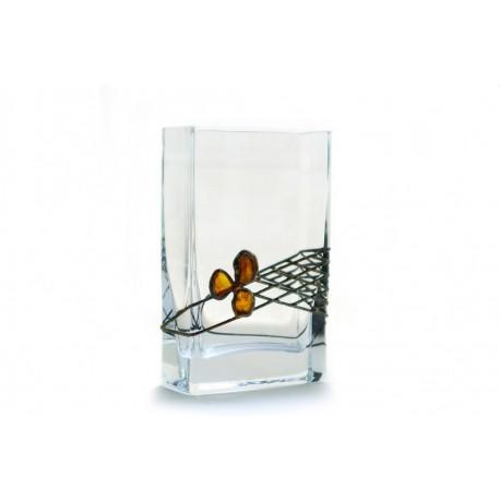 Gintaru ir alavu dekoruota stiklinė vazelė