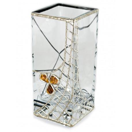 Stiklinė vaza - žvakidė, dekoruota alavu ir gintaru