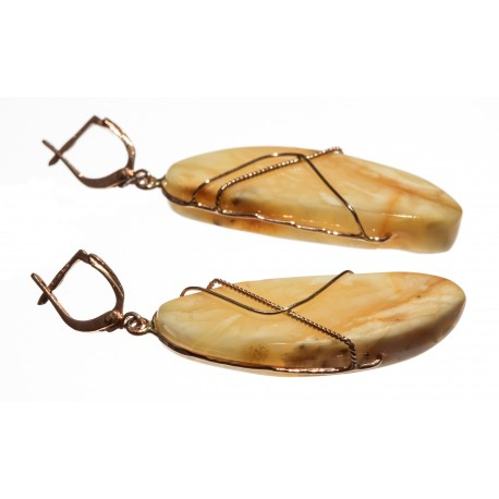 Auksu dekoruoti gintaro auskarai
